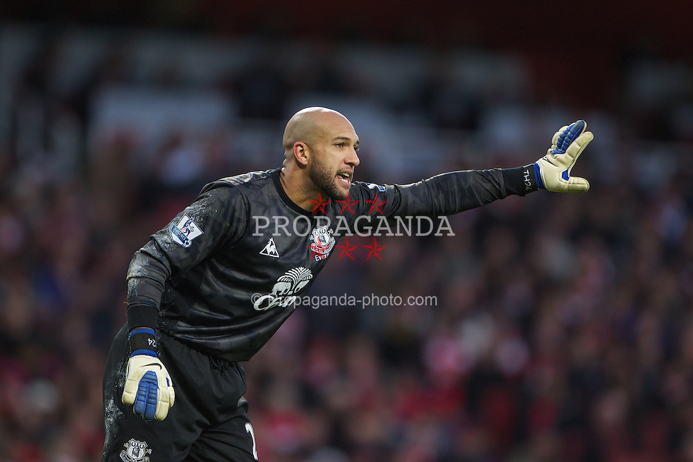LONDON, ENGLAND - Saturday, December 10, 2011: Everton's goalkeeper Tim Howard in action against Arsenal during the Premiership match at the Emirates Stadium London. (Pic by Phil Cole/Propaganda)