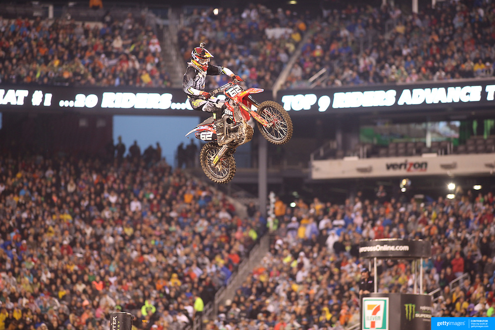 Mitchell Oldenburg, Honda, in action during the 250SX Class Championship during round 16 of the Monster Energy AMA Supercross series held at MetLife Stadium. 62,217 fans attended the event held for the first time at MetLife Stadium, New Jersey, USA. 26th April 2014. Photo Tim Clayton
