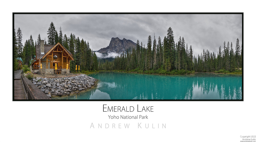 Panoramic image of Emerald Lake and Mount Burgess