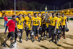 The Sharks take home the championship.  Avengerz vs. Sharks .  Lionel Roberts Stadium.  St. Thomas, VI.  15 August 2015.  © Aisha-Zakiya Boyd