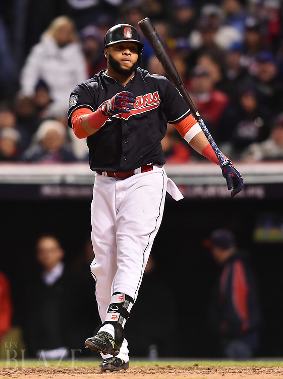 Oct 26, 2016; Cleveland, OH, USA; Cleveland Indians designated hitter Carlos Santana reacts after striking out in the 7th inning against the Chicago Cubs in game two of the 2016 World Series at Progressive Field. Mandatory Credit: Ken Blaze-USA TODAY Sports