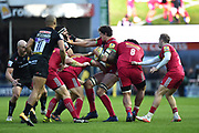 Charlie Matthews of Harlequins battle to hold on to the ball during the Aviva Premiership match between Exeter Chiefs and Harlequins at Sandy Park, Exeter, United Kingdom on 19 November 2017. Photo by Graham Hunt.