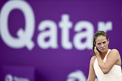 DOHA, Feb. 12, 2018  Daria Kasatkina of Russia reacts during the single's first round match against Catherine Bellis of the United States at the 2018 WTA Qatar Open in Doha, Qatar, on Feb. 12, 2018. Daria Kasatkina retired due to injury. (Credit Image: © Nikku/Xinhua via ZUMA Wire)