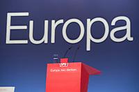 """26 JAN 2014, BERLIN/GERMANY:<br /> Rednerpult und Schriftzug """"Europa"""", SPD Europadelegiertenkonferenz und a.o. Bundesparteitag, Arena Berlin<br /> IMAGE: 20140126-01-155<br /> KEYWORDS: party congress, Parteitag"""