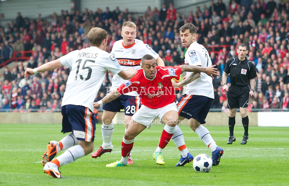 WREXHAM, WALES - Monday, May 7, 2012: Wrexham's Jake Speight in action against Luton Town during the Football Conference Premier Division Promotion Play-Off 2nd Leg at the Racecourse Ground. (Pic by David Rawcliffe/Propaganda)