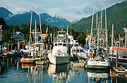 Alaska. Sitka. Crescent Harbor, Sunset, looking towards Lincoln Street.