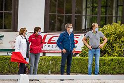 """EISENHARDT Dr. Evi (Dressurrichter), THEODORESCU Monica (Bundestrainer Dressur), RATH Klaus Martin (Veranstalter), RATH Matthias Alexander <br /> Impression am Rande<br /> Dressurprüfung Kl. S*** - mit Piaff und Passage <br /> Finale zur Qualifikation """"Stars von Morgen""""<br /> Kronberg - Schafhof Dressurfestival 2020<br /> 28. Juni 2020<br /> © www.sportfotos-lafrentz.de/Stefan Lafrentz"""