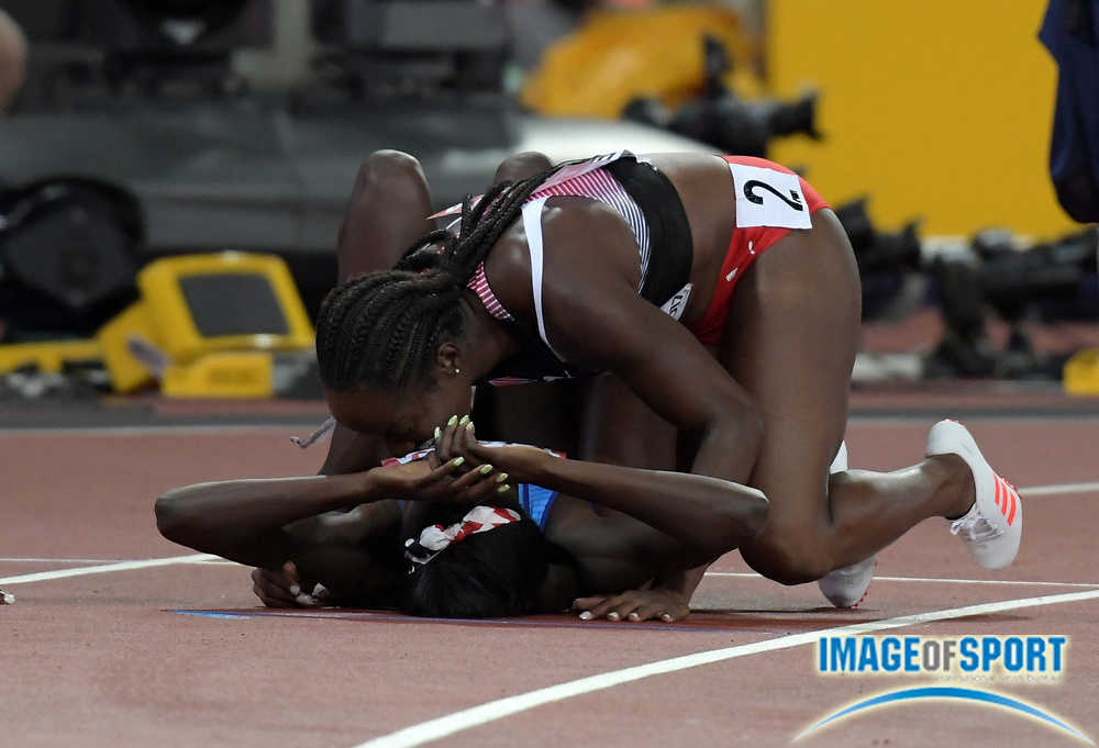 Aug 6, 2017; London, United Kingdom; Tori Bowie (USA), bottom, celebrates with Kelly-Ann Baptiste (TTO) after winning the women's 100m in 10.85 during the IAAF World Championships in Athletics at London Stadium at Queen Elizabeth Park.