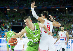 Alen Omic of Slovenia vs Dario Saric of Croatia during basketball match between Croatia and Slovenia at Day 1 in Group C of FIBA Europe Eurobasket 2015, on September 5, 2015, in Arena Zagreb, Croatia. Photo by Vid Ponikvar / Sportida
