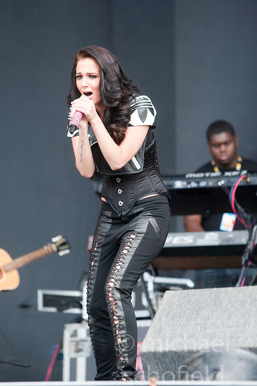 """Tula """"Tulisa"""" Contostavlos of N-Dubz play the main stage..T in the Park on Saturday 9th July 2011. T in the Park 2011 music festival takes place from 7-10th July 2011 in Balado, Fife, Scotland..©Pic : Michael Schofield."""