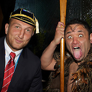 Georgian player Levan Datunashvili poses for photographs with Maori performer Gareth Johnson during the Georgia Rugby Teams official Civic welcome and cap presentation at Skyline.  Queenstown, New Zealand, 6th September 2011. Photo Tim Clayton..