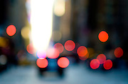 Abstract urban street scene with traffic and car lights, Seventh Avenue, Manhattan, New York City.