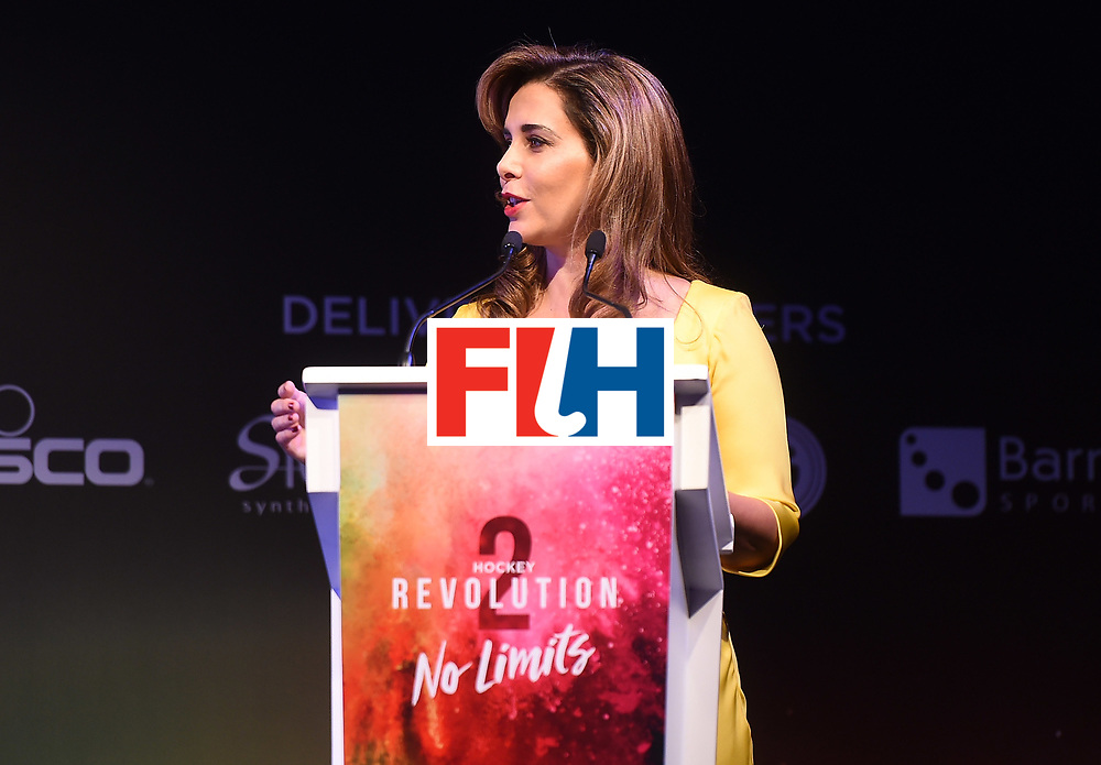 DUBAI, UNITED ARAB EMIRATES - NOVEMBER 11: HRH Princess Haya bint Al Hussein adresseses the guests at the Hockey Revolution Part 2 No Limits Ball on November 11, 2016 in Dubai, United Arab Emirates. (Photo by Tom Dulat/Getty Images)