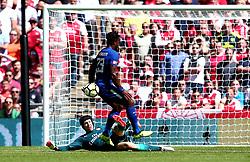 Petr Cech of Arsenal tackles Michy Batshuayi of Chelsea - Mandatory by-line: Robbie Stephenson/JMP - 06/08/2017 - FOOTBALL - Wembley Stadium - London, England - Arsenal v Chelsea - FA Community Shield