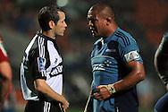 Referee Ian Smith has a word with Keven Mealamu. Investec Super Rugby - Chiefs v Blues, Waikato Stadium, Hamilton, New Zealand. Saturday 26 March 2011. Photo: Andrew Cornaga / photosport.co.nz
