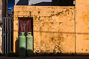 Gas cylinders outside house, Kilkee, Co. Clare, Ireland