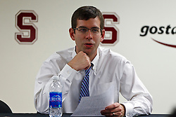 Dec 22, 2011; Stanford CA, USA; Butler Bulldogs head coach Brad Stevens addresses the media after the game against the Stanford Cardinal at Maples Pavilion.  Butler defeated Stanford 71-66. Mandatory Credit: Jason O. Watson-US PRESSWIRE