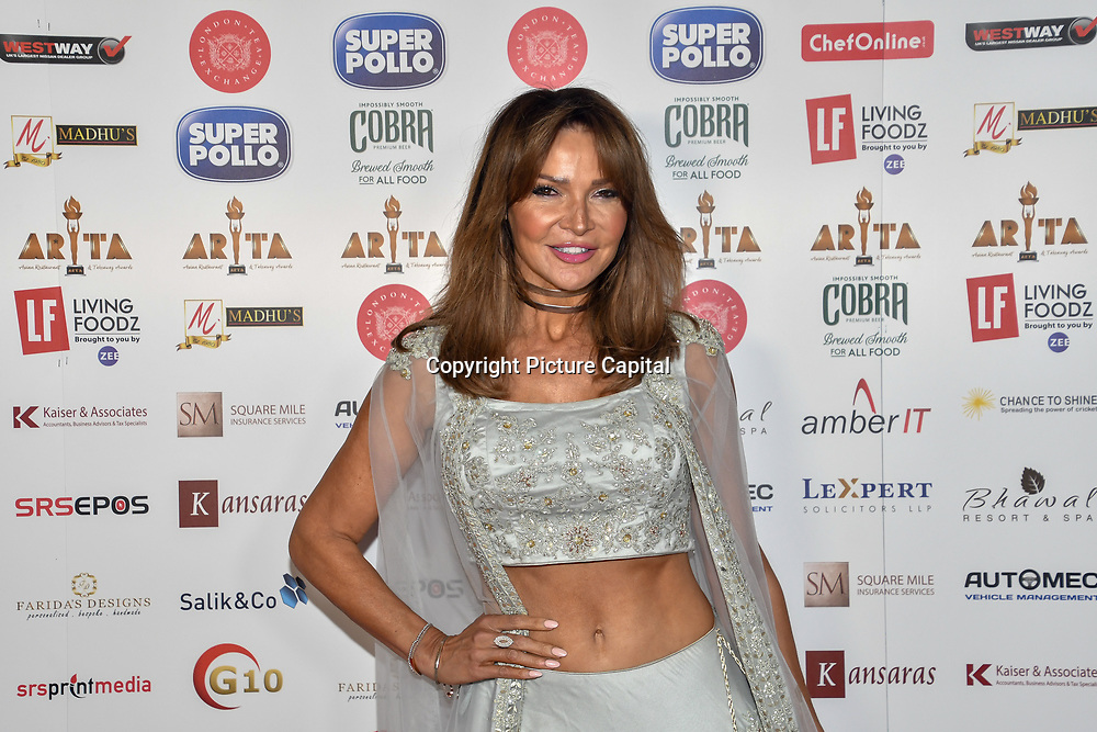 Lizzie Cundy dress in a saree attend Asian Restaurant & Takeaway Awards | ARTA 2018 at InterContinental London - The O2, London, UK. 30 September 2018.