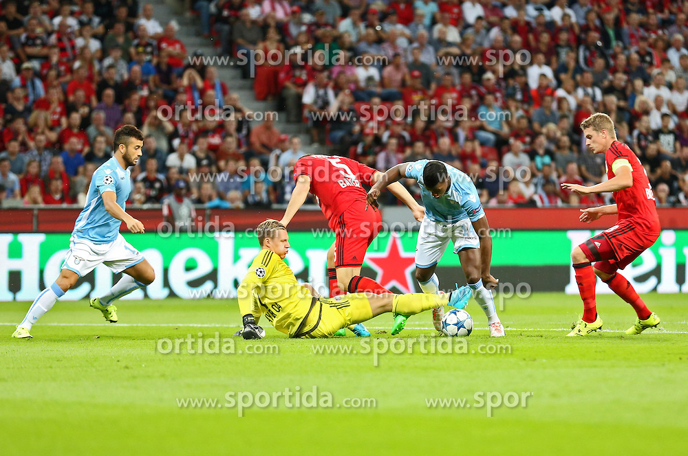 26.08.2015, BayArena, Leverkusen, GER, UEFA CL, Bayer 04 Leverkusen vs Lazio Rom, Playoff, R&uuml;ckspiel, im Bild Torwart Bernd Leno (Bayer 04 Leverkusen #1) mit einer Parade gegen Keita (Lazio Rom #14) // during UEFA Champions League Playoff 2nd Leg match between Bayer 04 Leverkusen and SS Lazio at the BayArena in Leverkusen, Germany on 2015/08/26. EXPA Pictures &copy; 2015, PhotoCredit: EXPA/ Eibner-Pressefoto/ Schueler<br /> <br /> *****ATTENTION - OUT of GER*****