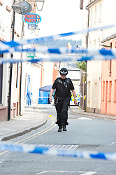 © Licensed to London News Pictures. 08/05/2016. Brecon, Powys, Wales, UK.Reportedly a male soldier was murdered in the early hours this morning in the area of Lion Street in Brecon, Powys, Wales, UK. Photo credit: Graham M. Lawrence/LNP