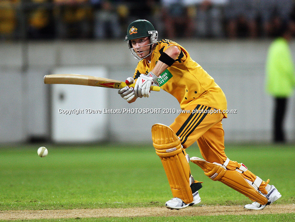 Australian captain Michael Clarke bats.<br /> 1st Twenty20 cricket match - New Zealand v Australia at Westpac Stadium, Wellington. Friday, 26 February 2010. Photo: Dave Lintott/PHOTOSPORT