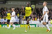 Burton Albion striker Lucas Akins (10) scores from the penalty spot to make the score 2-1 and celebrates during the EFL Sky Bet Championship match between Burton Albion and Fulham at the Pirelli Stadium, Burton upon Trent, England on 16 September 2017. Photo by Richard Holmes.