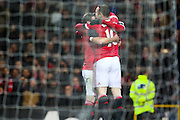 Wayne Rooney of Manchester United celebrates his goal during the Barclays Premier League match between Manchester United and Stoke City at Old Trafford, Manchester, England on 2 February 2016. Photo by Phil Duncan.