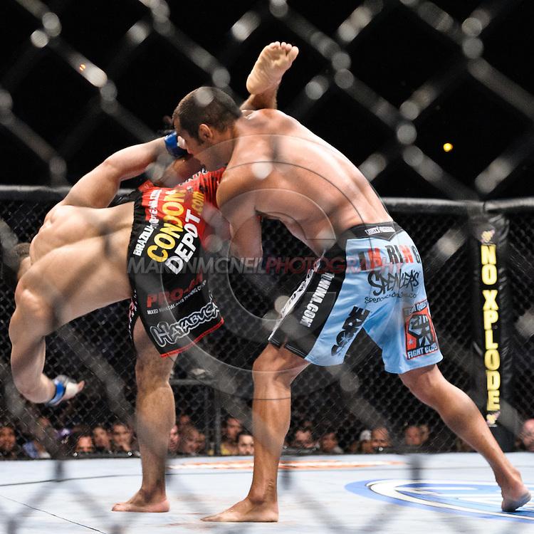 "ATLANTA, GEORGIA, SEPTEMBER 6, 2008: Rousimar Palhares (left) has his kick evaded by Dan Henderson during ""UFC 88: Breakthrough"" inside Philips Arena in Atlanta, Georgia on September 6, 2008"