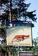 Pub Signs, The Fox and Hounds, Tilburstow Hill, South Godstone, Godstone, Britain