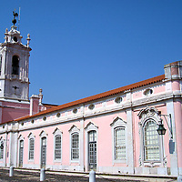 Pousada of Dona Maria in Queluz, Portugal<br /> During the 18th century, Queen Maria and her husband, Peter III, began construction of their summer palace in Queluz, Portugal, and also had this pink building designed to house their servants and guards.  It is now one of 44 historic hotels in Portugal under the management of the Grupo Pestana Pousadas.