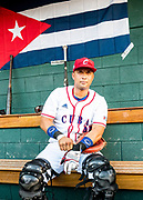 CULIACAN, MEXICO - FEBRUARY 5, 2017: Frank Morejon #45 of Cuba gets ready in the dugout before the start of the Caribbean Series game against Mexico at Estadio de los Tomateros on February 5, 2017 in Culiacan, Rosales. (Photo by Jean Fruth)