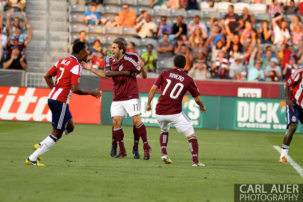 August 18th, 2012: Colorado Rapids midfielder Brian Mullan (11) celebrates his first half goal against Chivas USA at Dick's Sporting Goods Park