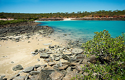 Pristine water at a remote beach in Camden Sound on the Kimberley coast.  Camden Sound has been announced as the Kimberley's first marine park.