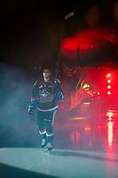 KELOWNA, CANADA - SEPTEMBER 22:  Libor Zabransky #7 of the Kelowna Rockets enters the ice against the Kamloops Blazers on September 22, 2018 at Prospera Place in Kelowna, British Columbia, Canada.  (Photo by Marissa Baecker/Shoot the Breeze)  *** Local Caption ***