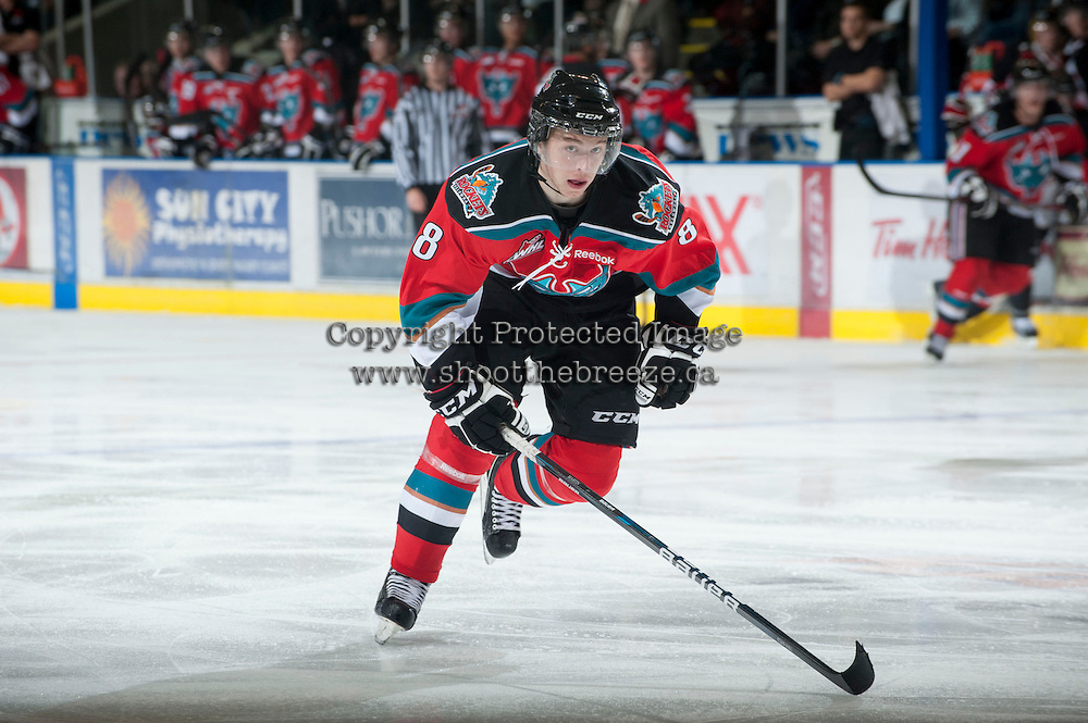 KELOWNA, CANADA - NOVEMBER 3:  Cole Martin #8 of the Kelowna Rockets skates on the ice against the Prince George Cougars at the Kelowna Rockets on November 3, 2012 at Prospera Place in Kelowna, British Columbia, Canada (Photo by Marissa Baecker/Shoot the Breeze) *** Local Caption ***