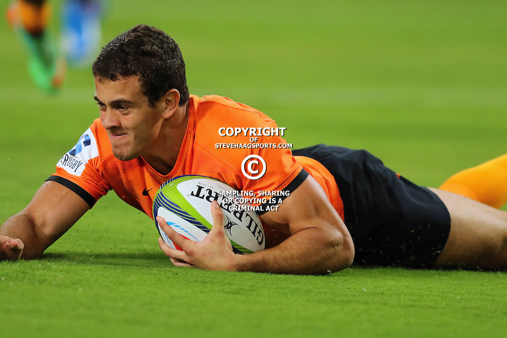 DURBAN, SOUTH AFRICA, 5, MARCH, 2016 -  Emiliano Boffelli of the Jaguares over for a try during The Cell C Sharks vs Jaguares Super Rugby match at Growthpoint Kings Park in Durban, South Africa. (Photo by Anesh Debiky)