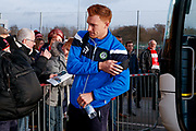 Forest Green Rovers defender Mark Roberts (21) arrives during the EFL Sky Bet League 2 match between Lincoln City and Forest Green Rovers at Sincil Bank, Lincoln, United Kingdom on 30 December 2017. Photo by Simon Davies.