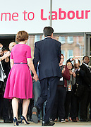 © Licensed to London News Pictures. 23/09/2014. Manchester, UK. Ed Miliband and his wife arrive.  Leader of the Labour Party Ed Miliband gives his leaders speech at the Labour Party Conference 2014 at the Manchester Convention Centre today 23 September 2014. Photo credit : Stephen Simpson/LNP