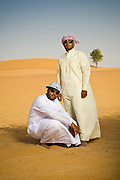 Emirati hip hop duo, Desert Heat consisting of Salim Dahman AKA 'Illmiyah'  and Abdullah Dahman AKA 'Arableak photographed in the desert just outside Dubai, UAE on Saturday June 13, 2009. Photo by Siddharth Siva/arabianEye