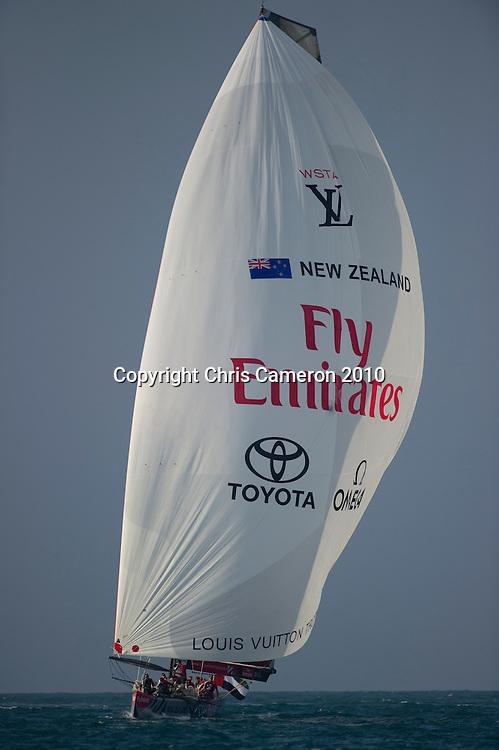 Emirates Team New Zealand race Mascalzone Latino (ITA) in the semi finals of the Louis Vuiton Trophy Dubai. 26/11/2010