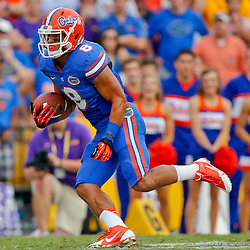Oct 12, 2013; Baton Rouge, LA, USA; Florida Gators wide receiver Trey Burton (8) against the LSU Tigers during the second half of a game at Tiger Stadium. LSU defeated Florida 17-6. Mandatory Credit: Derick E. Hingle-USA TODAY Sports