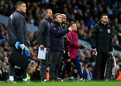 Leicester City manager Claude Puel gives a thumbs up as Riyad Mahrez prepares to come on as a substitute - Mandatory by-line: Matt McNulty/JMP - 10/02/2018 - FOOTBALL - Etihad Stadium - Manchester, England - Manchester City v Leicester City - Premier League