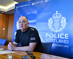 Chief Inspector Steven Hamilton who is leading the hunt for missing St Andrews student Duncan Sim (19), held a press conference at St Andrews University to appeal for help in tracing the Borders student, who has been missing since March 14.<br /> <br /> &copy; Dave Johnston/ EEm