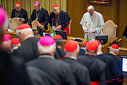 Vatican City oct 9th, 2015, extraordinary synod on family. in the picture pope Francis attends to synod meeting