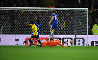 Football - 2017 / 2018 Premier League - Watford vs. Chelsea<br /> <br /> Daryl Janmaat of Watford scores goal no 2, at Vicarage Road.<br /> <br /> COLORSPORT/ANDREW COWIE