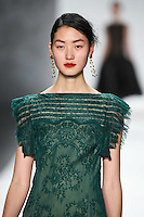 Lina Zhang walks down runway for F2012 Tadashi Shoji's collection in Mercedes Benz fashion week in New York on Feb 9, 2012 NYC
