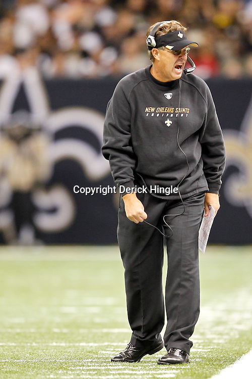 September 25, 2011; New Orleans, LA, USA; New Orleans Saints defensive coordinator Gregg Williams during the fourth quarter against the Houston Texans at the Louisiana Superdome. The Saints defeated the Texans 40-33. Mandatory Credit: Derick E. Hingle