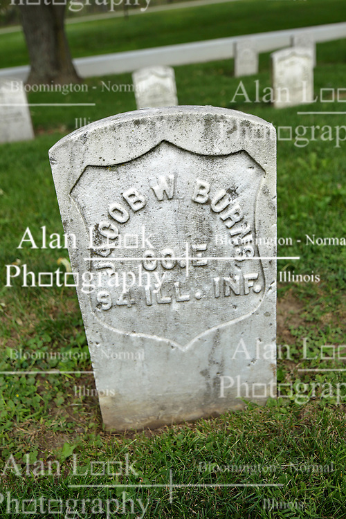 26 August 2017:   A part of the History of McLean County Illinois.<br /> <br /> Tombstones in Evergreen Memorial Cemetery.  Civic leaders, soldiers, and other prominent people are featured. Section 5, the old town soldiers area<br /> Jacob W Burris  Co E  94 ILL INF