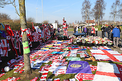 February 23, 2019 - Stoke On Trent, England, United Kingdom - Flowers and mementoes left in memory of former Stoke goalkeeper Gordon Banks OBE during the Sky Bet Championship match between Stoke City and Aston Villa at the Britannia Stadium, Stoke-on-Trent on Saturday 23rd February 2019. (Credit Image: © Mi News/NurPhoto via ZUMA Press)