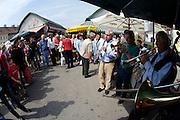 """The Naschmarkt, Vienna's biggest market. Presentation of famous chef Werner Matt's newest book """"Erlesene Menues"""" with live Jazz."""